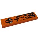 LEGO Orange Tile 1 x 4 with Black and Orange Pattern (Model Right Side) Sticker