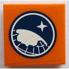 LEGO Orange Tile 2 x 2 with Arctic Explorer Logo Sticker