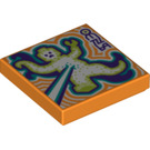 LEGO Orange Tile 2 x 2 with Mutate Ray with Groove (75379)