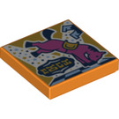 LEGO Orange Tile 2 x 2 with Pink Horse on Chess Board with Groove (75381)