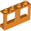 LEGO Orange Wall with Window 1 x 4 x 2 with Hollow Studs (61345)