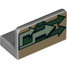 LEGO Panel 1 x 2 x 1 with Green Arrows pointing right with Rounded Corners (24845 / 35673)
