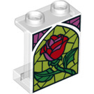 LEGO Panel 1 x 2 x 2 with Side Supports, Hollow Studs with red rose with Side Supports, Hollow Studs (6268 / 38621)