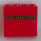 LEGO Panel 1 x 4 x 3 with 'Fire Department' Sticker (35323)