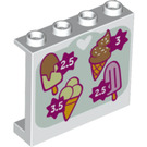 LEGO Panel 1 x 4 x 3 with Ice cream price sign with Side Supports, Hollow Studs (26341 / 60581)