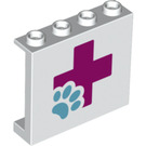 LEGO Panel 1 x 4 x 3 with Pink + with light blue paw print with Side Supports, Hollow Studs (26347 / 60581)