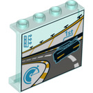 LEGO Panel 1 x 4 x 3 with Race Montior 1st place  with Side Supports, Hollow Studs (33618 / 60581)
