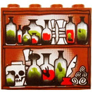 LEGO Panel 1 x 4 x 3 with Vials and Potions and Skeleton Head Pattern without Side Supports, Hollow Studs (4215)