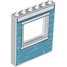 LEGO Panel 1 x 6 x 6 with Window Cutout with Blue Wall (15627 / 50137)