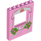 LEGO Panel 1 x 6 x 6 with Window with Light Pink Frame, Bricks, Crown, Butterfly, Roses and Leaves Pattern (15627 / 16279)