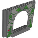 LEGO Panel 4 x 16 x 10 with Gate Hole with Red button and Ivy (15626 / 38170)