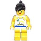 LEGO Paradisa Female with Palmtree, Sun and Dolphin Shirt, Black Ponytail Hair Minifigure