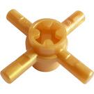 LEGO Pearl Gold Bar 1L Quadruple with Axlehole Hub (48723)