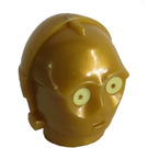 LEGO Pearl Gold C-3PO Protocol Droid Head with Yellow Eyes (70194)
