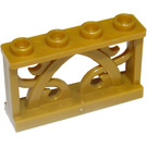 LEGO Pearl Gold Iron Fence 1 x 4 x 2 with 4 Knobs (19121)