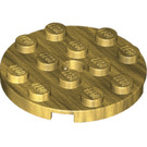 LEGO Pearl Gold Plate 4 x 4 Round with Hole and Snapstud (60474)