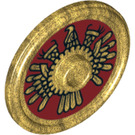 LEGO Pearl Gold Round Shield with Decoration (10329)