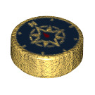 LEGO Pearl Gold Round Tile 1 x 1 with Compass Rose (25619)
