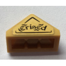 """LEGO Pearl Gold Slope 1 x 2 (45°) Triple with """"erised"""" Sticker with Inside Stud Holder"""