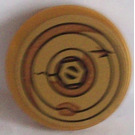 LEGO Pearl Gold Tile 2 x 2 Round with Bolt and Cracked and Rusting Washers Sticker with Bottom Stud Holder