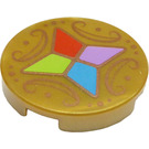 LEGO Pearl Gold Tile 2 x 2 Round with Four Crystals and Ornaments with Bottom Stud Holder (36701)
