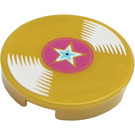 LEGO Pearl Gold Tile 2 x 2 Round with Gold Record and Star with Bottom Stud Holder (21256)