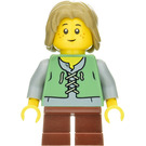 LEGO Peasant Child with Dark Tan Hair Minifigure Sand Green Vest over a Grey Undershirt,Short Reddish Brown Legs