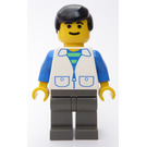 LEGO Person with White Suit with 2 Pockets, Black Hair Minifigure