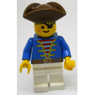 LEGO Pirate with Blue Jacket, White Legs and Brown Triangular Hat and Eyepatch Minifigure