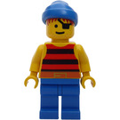 LEGO Pirate with Red and Black Stripes Shirt, Blue Legs and Bandana and Eyepatch Minifigure