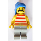 LEGO Pirate with Red and White Stripes Shirt and Large Moustache Minifigure