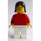 LEGO Plain Red Torso, Black Female Hair Minifigure