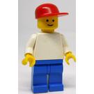 LEGO Plain White Torso, Blue Legs, Red Cap Minifigure