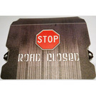 LEGO Plastic Ramp Cover with red STOP sign, 'ROAD CLOSED' and gray vertical stripes