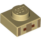 LEGO Plate 1 x 1 with Minecraft Village Mouth and Nose Pattern (17199 / 18967)