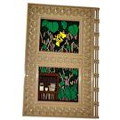 LEGO Plate 10 x 16 Horizontal 3.2 Shaft with Decoration with Plants, Flowerpots & Hufflepuff Emblem Sticker