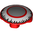 LEGO Plate 2 x 2 Round with Rounded Bottom with Silver circle with white feather surround (2654 / 67527)