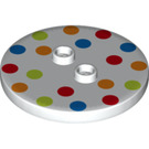 LEGO Plate 4 x 4 Circle with 2 Knobs with Coloured Dots (32627 / 33490)