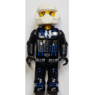LEGO Police Cop with Black Outfit, White Helmet and Yellow Head Minifigure