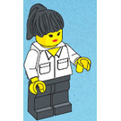 LEGO Police Dispatcher with White Shirt with Collar and Two Pockets, Black Legs, Lipstick, and Black Hair with Pony Tail Minifigure
