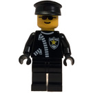 LEGO Police Man with Zipper and Sheriff Star, Black Legs, Black Police Hat, and Sunglasses Minifigure