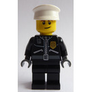LEGO Police Office with zipper Jacket, gold badge and Dark Stone Hands and Black Pants, White Hat Minifigure