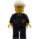 LEGO Police Officer in Suit with Badge and White Cap Minifigure