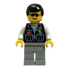 LEGO Police Officer with Black Shirt with Two Pockets and White Sleeves, Sheriff Badge, Light Gray Legs, Sunglasses, and Black Hair Minifigure