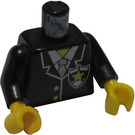 LEGO Police Torso with White Zipper and Badge with Yellow Star and Light Gray Tie with Black Arms and Black Hands (973)