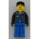 LEGO Policeman with Black Jacket and Black Cap Minifigure