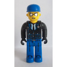 LEGO Policeman with Black Jacket and Blue Cap Minifigure