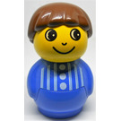 LEGO Primo Boy with Blue Base, Blue Top with vertical white stripes and 3 buttons, Brown Hair Primo Figure