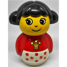 LEGO Primo Figure Girl with White Base with Red Dots, Red Top with Crown Pattern Primo Figure