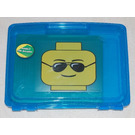 LEGO Project Case Minifigure Head Black Sunglasses Blue with Baseplate (499118)